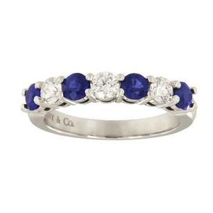 Tiffany & Co. Tiffany Platinum Diamond & Blue Sapphire Ring Band