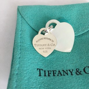 Tiffany & Co. Please Return to Tiffany Co. Silver Mother Of Pearl Double Hearts Charms POUCH