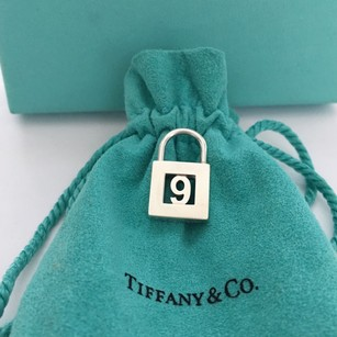 Tiffany & Co. Silver Lock (Opens and Closes) Number NINE 9 Charm Pendant POUCH!!