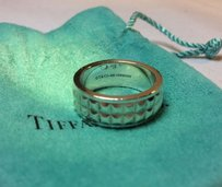 Tiffany & Co. Sterling Silver 925 Germany Studded Solid Band Ring Size 8.5