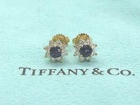 Tiffany & Co. Tiffany,Co,18kt,Gem,Blue,Sapphire,Diamond,Flower,Stud,Yg,Earrings,1.28ct