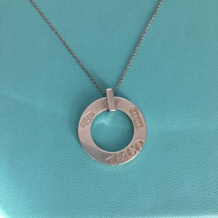 Tiffany & Co. T & Co Logo Silver 1837 Charm Round Circle Pendant 16