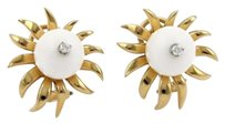 Tiffany & Co. Tiffany Co. Schlumberger Diamond White Onyx 18k Yellow Gold Earrings