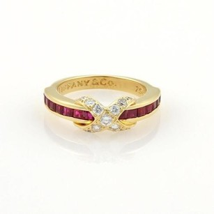 Tiffany & Co. Tiffany Co. 1.12ct Diamonds Ruby 18k Gold Signature X Design Band Ring