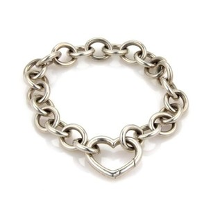 Tiffany & Co. Tiffany Co. Vintage Sterling Silver Heart Clasp Charm Chain Bracelet