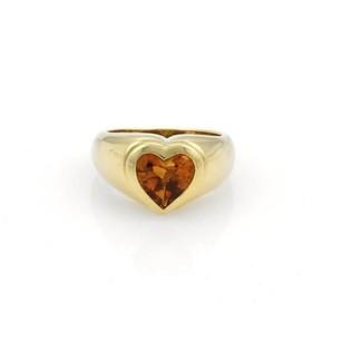 Tiffany & Co. Tiffany Co. 2ct Heart Cut Citrine 18k Yellow Gold Heart Ring