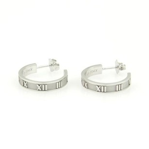 Tiffany & Co. Tiffany Co. Italy 18k White Gold Atlas Numerical Semi Hoop Earrings