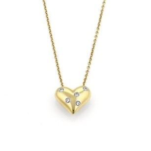Tiffany & Co. Tiffany Co. Diamond Etoile 18k Gold Platinum Puff Heart Necklace