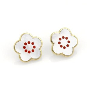 Tiffany & Co. Tiffany Co. Mother Of Pearl Coral Inlay 18k Ygold Floral Post Clip Earrings