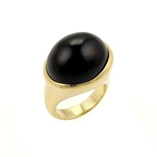 Tiffany & Co. Tiffany Co. Peretti Cabochon Black Jade 18k Yellow Gold Ring-size