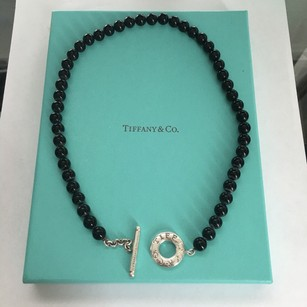 Tiffany & Co. Tiffany & Co Silver Black Onyx Round Ball 8mm Bead Toggle 16' Necklace BOX POUCH