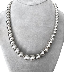Tiffany & Co. Tiffany & Co Sterling Silver Graduated Bead Ball Necklace 16