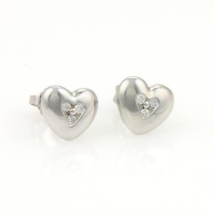 Tiffany & Co. Tiffany Co. 18k White Gold Diamonds Heart Stud Earrings