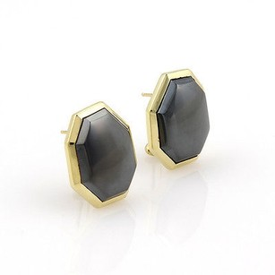 Tiffany & Co. Tiffany Co. 18k Yellow Gold Hematite Designer Earrings