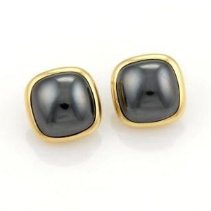 Tiffany & Co. Tiffany Co. 18k Yellow Gold Hematite Square Shape Clip On Earrings