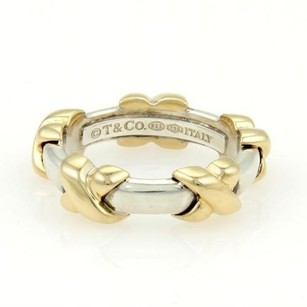 Tiffany & Co. Tiffany Co. 18k Yellow Gold Sterling Silver Signature X Band Ring 4.25