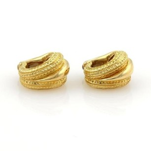 Tiffany & Co. Tiffany Co. 18k Yellow Gold Textured Shell Design Huggie Clip On Earrings