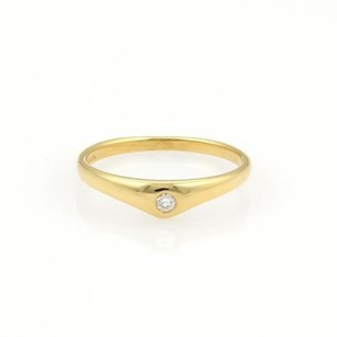 Tiffany & Co. Tiffany Co. Diamond Curved 18k Yellow Gold Band Ring