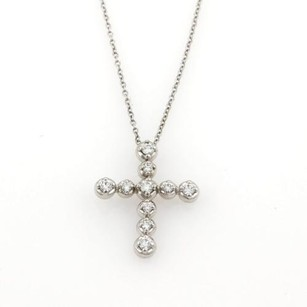 Tiffany & Co. Tiffany Co. Diamonds 18k White Gold Tenderness Cross Pendant Necklace