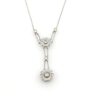 Tiffany & Co. Tiffany Co. Diamonds Platinum Floral Pendant Lariat Style Necklace