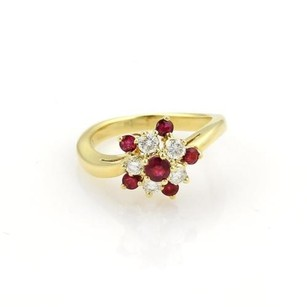 Tiffany & Co. Tiffany Co. Diamonds Ruby 18k Yellow Gold Floral Cluster Ring