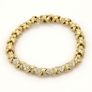Tiffany & Co. Tiffany Co. Diamonds X Crossover 18k Yellow Gold Bracelet 7 Long