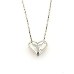 Tiffany & Co. Tiffany Co. Etoile Diamonds Platinum Puff Heart Pendant Necklace
