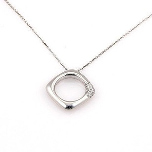 Tiffany & Co. Tiffany Co. Italy 18k White Gold Diamond Designer Pendant Necklace