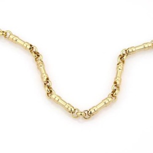 Tiffany & Co. Tiffany Co. Italy 18k Yellow Gold Cylindrical Chain Link Necklace - 18.5
