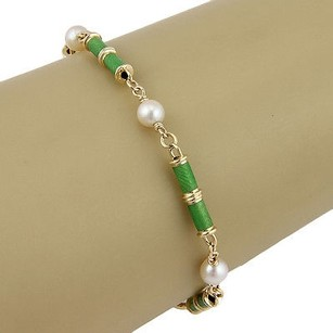 Tiffany & Co. Tiffany Co. Italy 18k Yellow Gold Designer Bracelet W Green Enamel And Pearls