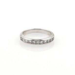 Tiffany & Co. Tiffany Co. Lucida Diamonds Half Circle Platinum Wedding Band Ring 6.25