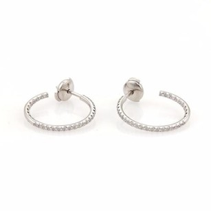 Tiffany & Co. Tiffany Co. Mid Metro Diamonds Inside Out 18k White Gold Hoop Earrings