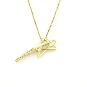 Tiffany & Co. Tiffany Co. Paloma Picasso 18k Ygold Diamond Shooting Star Pendant Necklace