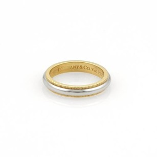 Tiffany & Co. Tiffany Co. Platinum 18k Ygold Double Milgrain 3.5mm Band Ring