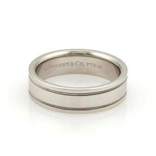 Tiffany & Co. Tiffany Co. Platinum Double Milgrain 6mm Wide Wedding Band Ring 8.25