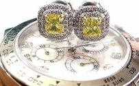 Tiffany & Co. Tiffany Co Platinum Fancy Vivid Yellow Diamond Soleste Stud Earrings If 1.73ct