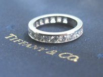 Tiffany & Co. Tiffany Co Platinum Full Circle Round Diamonds 3.9mm Eternity Band Ring