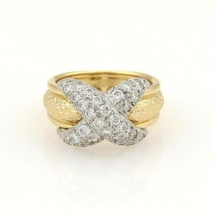Tiffany & Co. Tiffany Co. Schlumberger Diamonds Platinum 18k Ygold X Band Ring