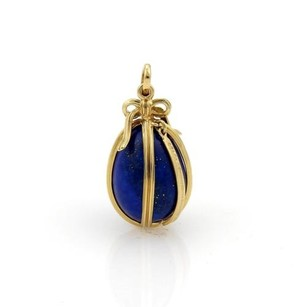 Tiffany & Co. Tiffany Co. Schlumberger Studios 18k Yellow Gold Lapis Egg Pendant