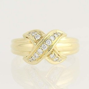 Tiffany & Co. Tiffany Co. Signature X Diamond Ring - 18k Yellow Gold 1990 Designer .20ctw