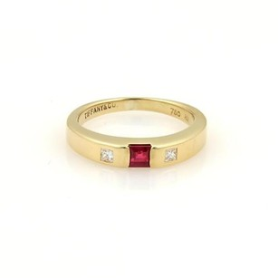 Tiffany & Co. Tiffany Co. Square Diamonds Ruby 18k Yellow Gold Stack Band Ring