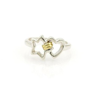 Tiffany & Co. Tiffany Co. Sterling Silver 18k Yellow Gold Heart Star Ring