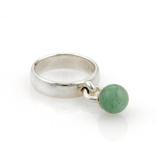 Tiffany & Co. Tiffany Co. Sterling Silver Jade Drop Charm Band Ring -