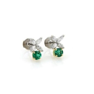 Tiffany & Co. Tiffany Co. Victoria 1.50ct Emerald Diamonds Platinum 18k Gold Stud Earrings