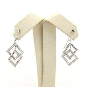 Tiffany & Co. Tiffany Co.18k White Gold Interlock Double Box Beaded Drop Dangle Earrings