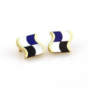 Tiffany & Co. Tiffany Co.18k Ygold Mother Of Pearl Lapis Lazuli Black Onyx Stud Earrings