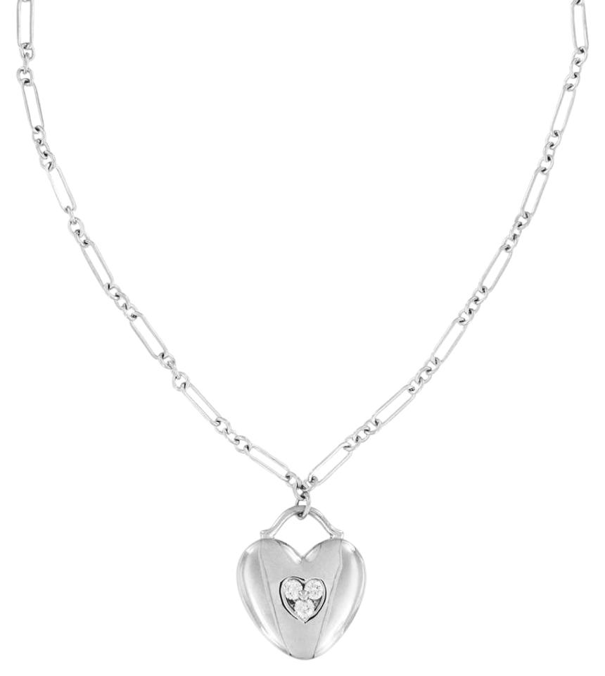 Tiffany co white gold diamond heart pendant fancy link chain tiffany co white gold diamond heart pendant fancy link chain necklace tradesy aloadofball Image collections