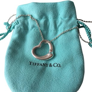Tiffany & Co. Tiffany Elsa Peretti Silver Open Heart Medium Necklace POUCH!!