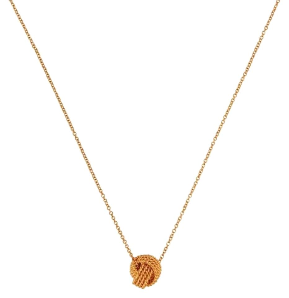 Tiffany co twist knot 18k rose gold pendant necklace tradesy mozeypictures Image collections