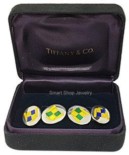 Tiffany & Co. Very Rare Vintage Sterling Silver Cufflinks with Enamel